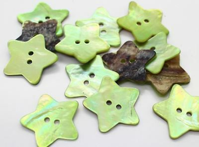 "10pc 40L 1"" 25mm Lime STAR Green Real Shell Button Art Crafts Scrapbook Project"