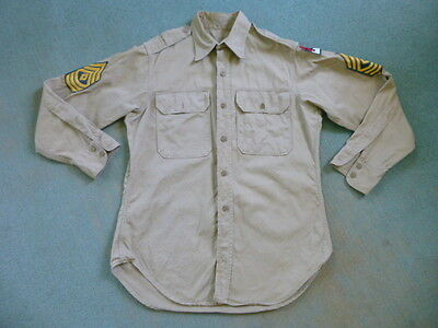 Vintage US Military Khaki Shirt 2nd Army Patch E-8 First Sergeant 1946 Post WWII