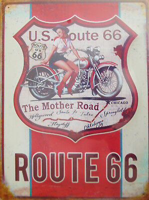 Grande Plaque Sexy Pin Up Cowgirl Route 66 -40X30 Cm- Relief - Deco Usa/ Vintage