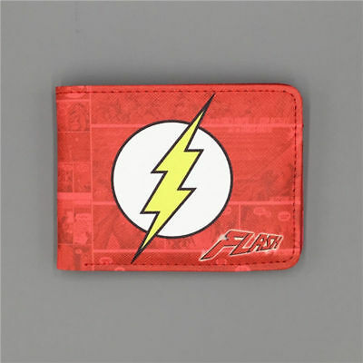 New Hot Cool THE FLASH LOGO wallets Purse Red Leather Man women free shipping