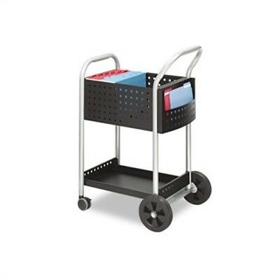 Scoot Mail Cart, 1-Shelf, 22w x 27d x 40-1/2h, Black/Silver