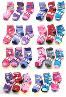 Girls Childrens Kids Character Socks Cotton Pairs New Pack Of 6 Assorted Colours