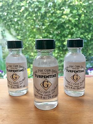 3 Bottles of 100% Pure Gum Spirits of Turpentine (Organic) by Diamond G Forest