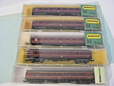 N Gauge 5 x Minitrix Mk1 BR Maroon Coaches, Boxed (lot 1)