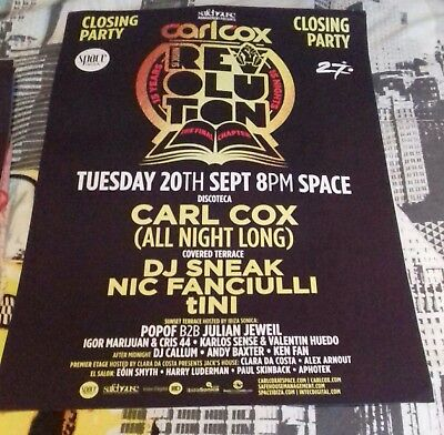 carl cox closing party poster space ibiza