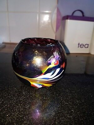 iridescent multi colour glass bowl