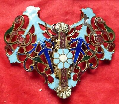 Art Nouveau enamelled belt buckle