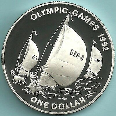 BERMUDA. ND (1993) Silver 1 DOLLAR. 1992 OLYMPICS. PROOF
