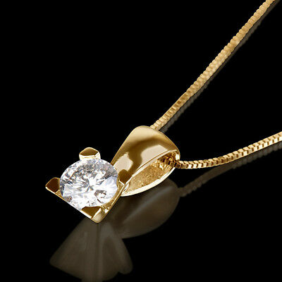 0.45 Ct Round Solitaire Diamond Necklace 14K Yellow Gold Proposal Pendant New