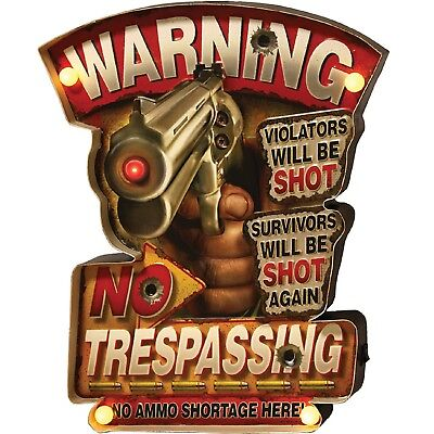 Rivers Edge No Trespassing LED Metal Bar Sign 2231