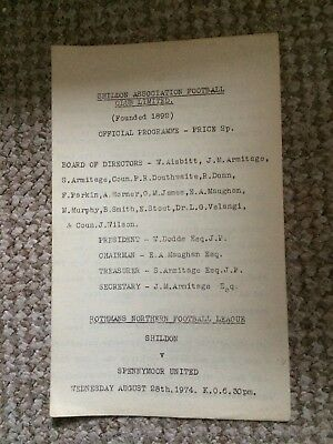 SHILDON v SPENNYMOOR UNITED  ROTHMANS NORTHERN LEAGUE 1974  VERY RARE