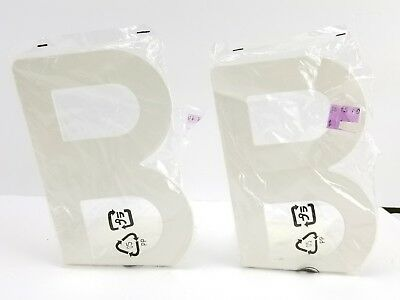 IKEA BUSBASSE Letter B Two Book-Ends White One Set Pair Metal NEW