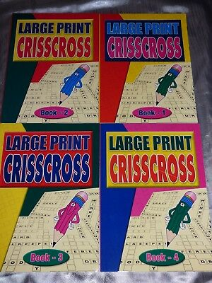 4 X A4 Large Print Criss Cross Puzzle Books 66 Puzzles Per Book Holiday Flight