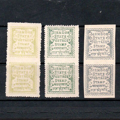 Sirmoor State, India: Selection Of Stamps In Unmounted Mint Pairs
