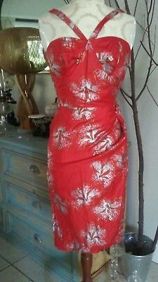 Vintage RED Hawaiian SILVER/GOLD HIBISCUS Dress Tropical Floral. Size X'S 0/2