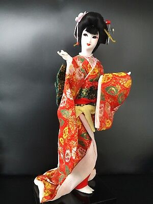 "Vintage Japanese Maiko Geisha Doll On Wooden Stand 17"" tall"