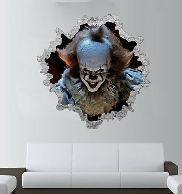 Pennywise 3D Wall Break Sticker - IT Clown Art - Halloween Decal - Window Scary