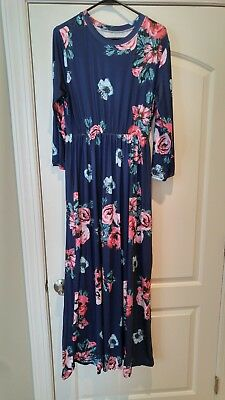 NWOT Maternity blue floral dress long sleeve maxi extra large XL