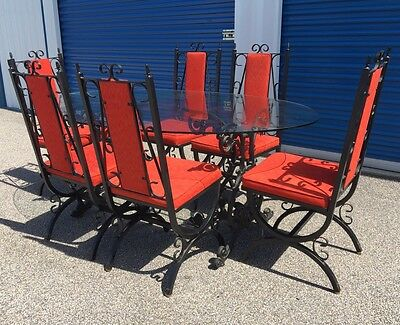Vintage 1950s HOWELL Spanish Revival Dining Set GOTHIC Table Chairs Medieval TUD