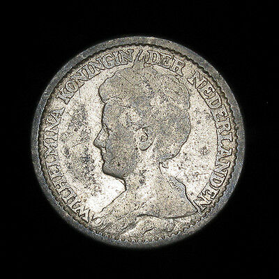 1911 Netherlands 25 cents silver coin