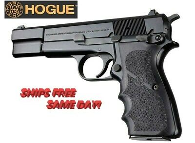 Hogue  Browning Hi-Power BLACK Rubber grip with Finger Grooves # 09000   New!