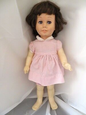 vintage Chatty Cathy Doll - Soft Face - Brunette Bob/Blue Eyes with dress