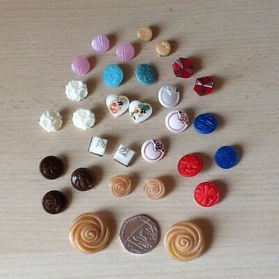 Lot Of 30 Vintage Coloured Glass Buttons- Stunning Collection
