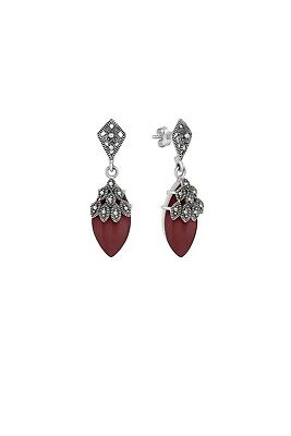 Armada Marinella Statement Silver 925 Red Agate Earrings