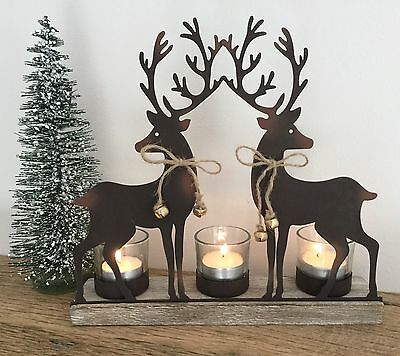 Christmas Reindeer Tea Light Holder Metal Rustic Wood Vintage Mantel Decoration