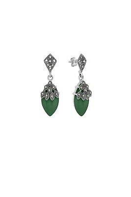 Armada Marinella Statement Silver Green Agate Earrings