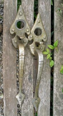 Vintage 2 Large FRONT DOOR HANDLES Salvaged Brass Metal Celtic Entry Hardware