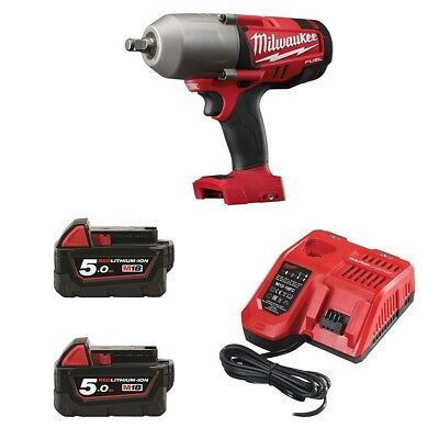 Milwaukee M18CHIWF12-502 High Torque Impact Wrench x2 5.0Ah Batteries & Rapid Ch