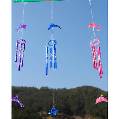 Dolphin Creative Crystal 4 Metal Tubes Windchime Wind Chime Home Decor JP