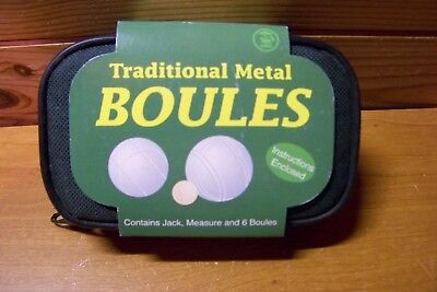 New Traditional Metal Boules  6 Boules / Jack & Measure in Case Tobar of Norwich