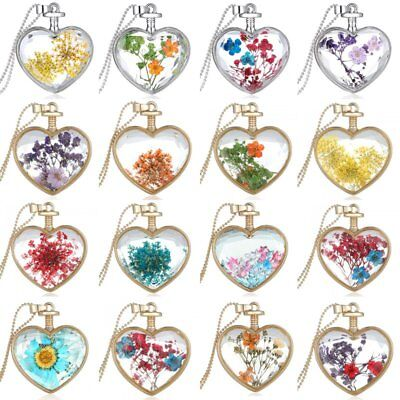 Lady Natural Real Dried Flower Clear Heart Glass Pendant Necklace Jewellery Gift