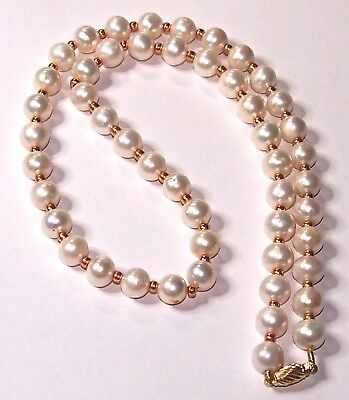 Japanese Sea Akoya  Pearl Necklace 18K  Yellow Gold  Clasp