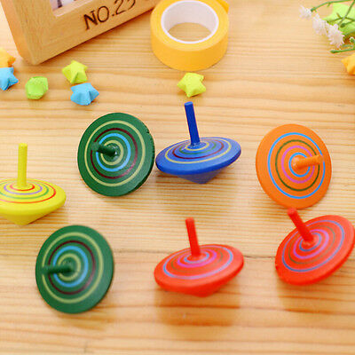 2x Wooden Gyro Spinning Top Peg-Top Cartoons Multicolor Kids Educational Toys EC