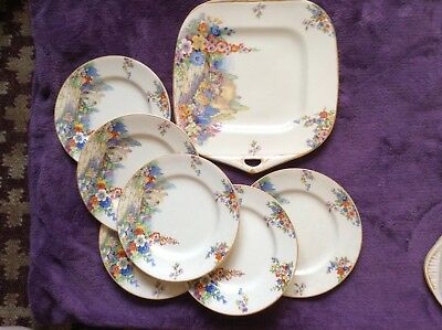 Old England Gardens Vintage Cake Plate With 6 Plates By Swinnerton