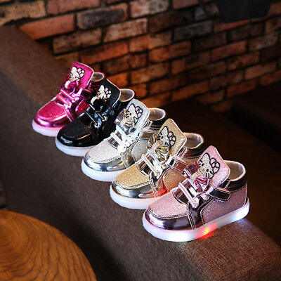 Kids Boys Girls LED Shoes Light Up Luminous Children Trainers Sport Sneakers