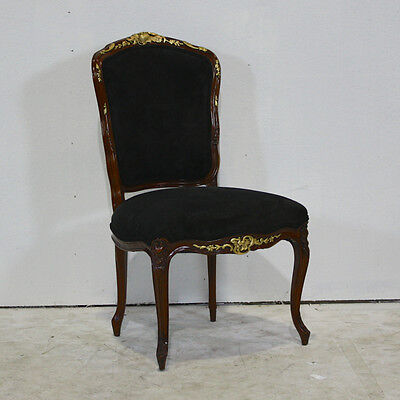 Set of 4 mahogany traditional dining chairs with gold leaf details