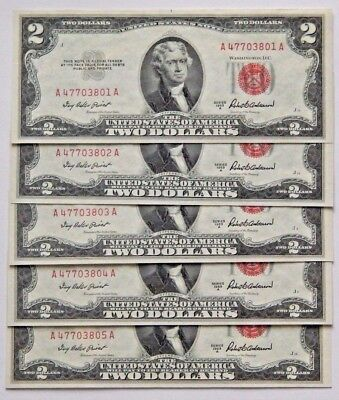 1953A $2 DOLLAR BILL RED SEAL, CONSECUTIVE NUMBERS, MINT CONDITION. Lot of 5