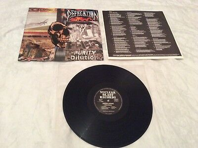"""Defecation """"Purity Dilution"""" original 1989 LP and inner on Nuclear Blast."""
