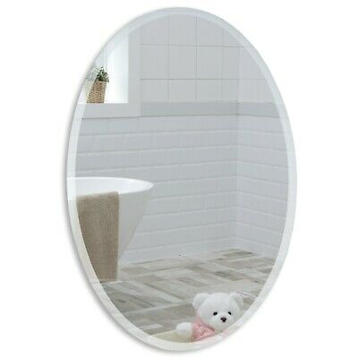 BATHROOM WALL MIRROR Modern  OVAL w/ BEVEL Frameless Plain 50x40cm 2AE