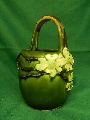 Rare Roseville Pottery Dogwood #2 Basket With Handle. Perfect Condition