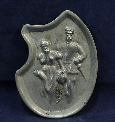 Decorative Pewter Tray - Comical Riske' Soldier & Lady