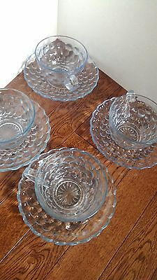 7 Fire King Anchor Hocking Blue Bubble Glass Cup & Saucer Sets Pressed glass