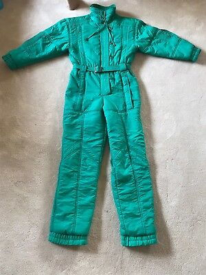Vintage 80s Snowsuit One Piece Green Belted  Sz S Costume Halloween Retro