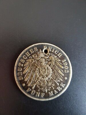 holed 1902A German Empire 5 mark funf mark Deutsches reich silver coin Germany