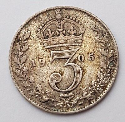 Dated : 1905 - Silver Coin - Threepence / 3d - King Edward VII - Great Britain