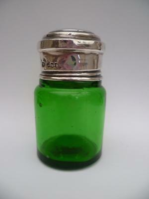 Charles May S/ Silver Top Emerald Green Glass Perfume/scent Bottle H/marked 1929